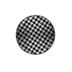 Houndstooth2 Black Marble & Silver Brushed Metal Hat Clip Ball Marker (10 Pack) by trendistuff