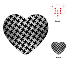 Houndstooth2 Black Marble & Silver Brushed Metal Playing Cards (heart) by trendistuff