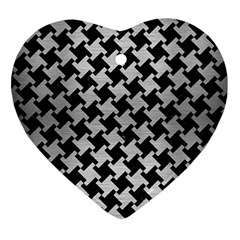 Houndstooth2 Black Marble & Silver Brushed Metal Heart Ornament (two Sides) by trendistuff