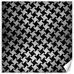 Houndstooth2 Black Marble & Silver Brushed Metal Canvas 12  X 12