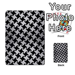 Houndstooth2 Black Marble & Silver Brushed Metal Multi Purpose Cards (rectangle) by trendistuff