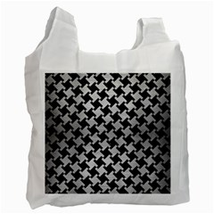 Houndstooth2 Black Marble & Silver Brushed Metal Recycle Bag (one Side) by trendistuff