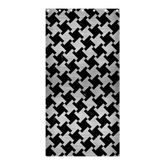 Houndstooth2 Black Marble & Silver Brushed Metal Shower Curtain 36  X 72  (stall) by trendistuff