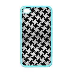 Houndstooth2 Black Marble & Silver Brushed Metal Apple Iphone 4 Case (color) by trendistuff