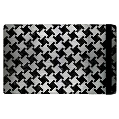 Houndstooth2 Black Marble & Silver Brushed Metal Apple Ipad 2 Flip Case by trendistuff