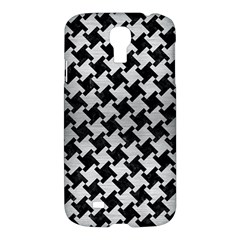 Houndstooth2 Black Marble & Silver Brushed Metal Samsung Galaxy S4 I9500/i9505 Hardshell Case by trendistuff