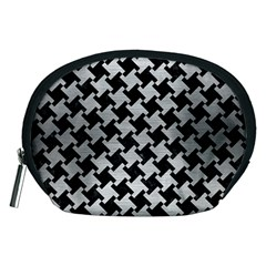 Houndstooth2 Black Marble & Silver Brushed Metal Accessory Pouch (medium) by trendistuff