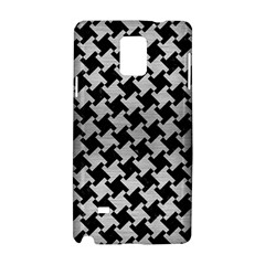 Houndstooth2 Black Marble & Silver Brushed Metal Samsung Galaxy Note 4 Hardshell Case by trendistuff