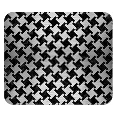Houndstooth2 Black Marble & Silver Brushed Metal Double Sided Flano Blanket (small) by trendistuff