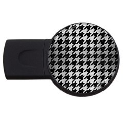 Houndstooth1 Black Marble & Silver Brushed Metal Usb Flash Drive Round (2 Gb) by trendistuff