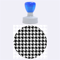 Houndstooth1 Black Marble & Silver Brushed Metal Rubber Stamp Round (large) by trendistuff
