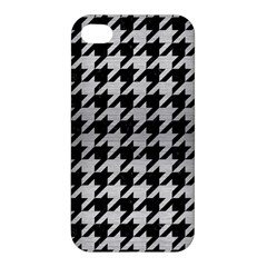 Houndstooth1 Black Marble & Silver Brushed Metal Apple Iphone 4/4s Hardshell Case by trendistuff