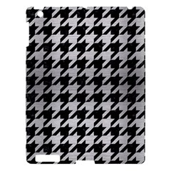 Houndstooth1 Black Marble & Silver Brushed Metal Apple Ipad 3/4 Hardshell Case by trendistuff