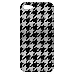 Houndstooth1 Black Marble & Silver Brushed Metal Apple Iphone 5 Hardshell Case by trendistuff
