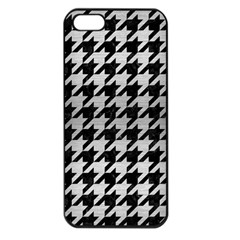 Houndstooth1 Black Marble & Silver Brushed Metal Apple Iphone 5 Seamless Case (black) by trendistuff