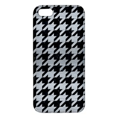 Houndstooth1 Black Marble & Silver Brushed Metal Apple Iphone 5 Premium Hardshell Case by trendistuff