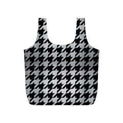 Houndstooth1 Black Marble & Silver Brushed Metal Full Print Recycle Bag (s) by trendistuff