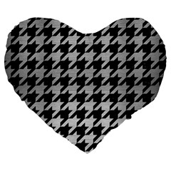 Houndstooth1 Black Marble & Silver Brushed Metal Large 19  Premium Flano Heart Shape Cushion by trendistuff