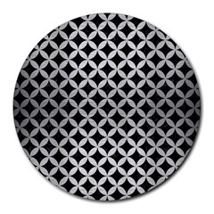 Circles3 Black Marble & Silver Brushed Metal Round Mousepad by trendistuff