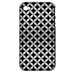 Circles3 Black Marble & Silver Brushed Metal Apple Iphone 4/4s Hardshell Case (pc+silicone) by trendistuff