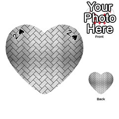 Brick2 Black Marble & Silver Brushed Metal (r) Playing Cards 54 (heart) by trendistuff