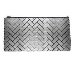 Brick2 Black Marble & Silver Brushed Metal (r) Pencil Case by trendistuff