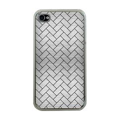 Brick2 Black Marble & Silver Brushed Metal (r) Apple Iphone 4 Case (clear) by trendistuff