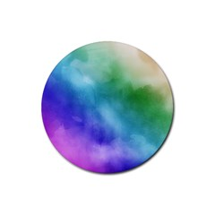 Rainbow Watercolor Rubber Round Coaster (4 Pack)  by StuffOrSomething