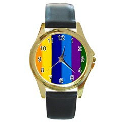 Rainbow Painting On Wood Round Gold Metal Watch by StuffOrSomething