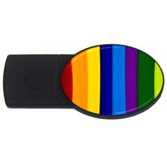 Rainbow Painting On Wood Usb Flash Drive Oval (2 Gb)  by StuffOrSomething
