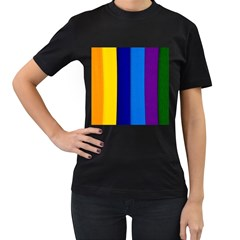 Rainbow Painting On Wood Women s T Shirt (black) (two Sided) by StuffOrSomething