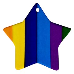 Rainbow Painting On Wood Star Ornament (two Sides)  by StuffOrSomething