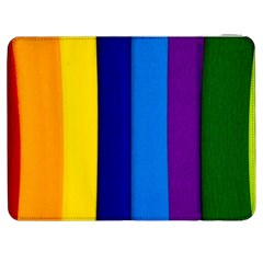 Rainbow Painting On Wood Samsung Galaxy Tab 7  P1000 Flip Case by StuffOrSomething