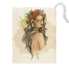 Beauty Of A Woman In Watercolor Style Drawstring Pouches (xxl) by TastefulDesigns