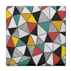 Colorful Geometric Triangles Pattern  Tile Coasters by TastefulDesigns