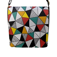 Colorful Geometric Triangles Pattern  Flap Messenger Bag (l)  by TastefulDesigns