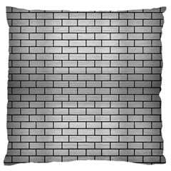Brick1 Black Marble & Silver Brushed Metal (r) Large Flano Cushion Case (one Side) by trendistuff