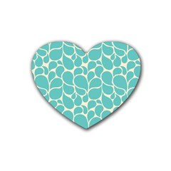 Blue Abstract Water Drops Pattern Heart Coaster (4 Pack)  by TastefulDesigns