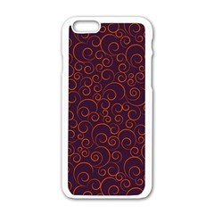 Seamless Orange Ornaments Pattern Apple Iphone 6/6s White Enamel Case by TastefulDesigns