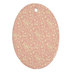Girly Pink Leaves And Swirls Ornamental Background Ornament (oval)  by TastefulDesigns