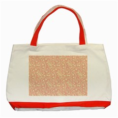 Girly Pink Leaves And Swirls Ornamental Background Classic Tote Bag (red) by TastefulDesigns
