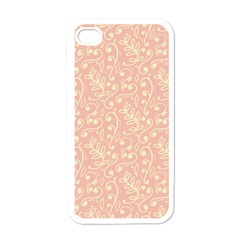 Girly Pink Leaves And Swirls Ornamental Background Apple Iphone 4 Case (white) by TastefulDesigns