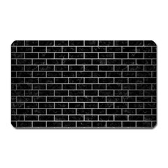 Brick1 Black Marble & Silver Brushed Metal Magnet (rectangular)
