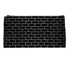 Brick1 Black Marble & Silver Brushed Metal Pencil Case by trendistuff