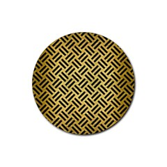 Woven2 Black Marble & Gold Brushed Metal (r) Rubber Coaster (round) by trendistuff