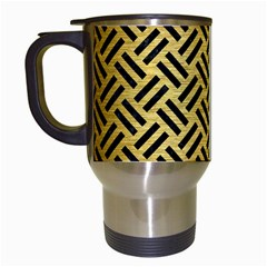 Woven2 Black Marble & Gold Brushed Metal (r) Travel Mug (white) by trendistuff