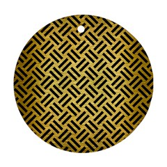 Woven2 Black Marble & Gold Brushed Metal (r) Round Ornament (two Sides) by trendistuff
