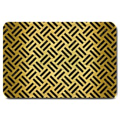 Woven2 Black Marble & Gold Brushed Metal (r) Large Doormat by trendistuff