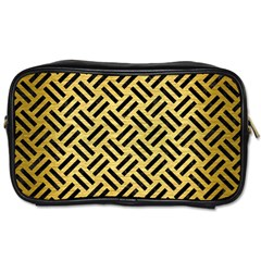 Woven2 Black Marble & Gold Brushed Metal (r) Toiletries Bag (two Sides) by trendistuff