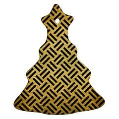 Woven2 Black Marble & Gold Brushed Metal (r) Christmas Tree Ornament (two Sides) by trendistuff